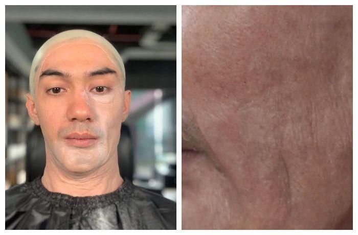 Penampakan Reza Rahadian di awal pemasangan makeup prostetik