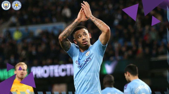 Gabriel Jesus ikut mencetak gol dalam kemenangan 3-1 Manchester City atas Leicester City pada pekan ke-18 Liga Inggris, Sabtu (21/12/2019) di Stadion Etihad.