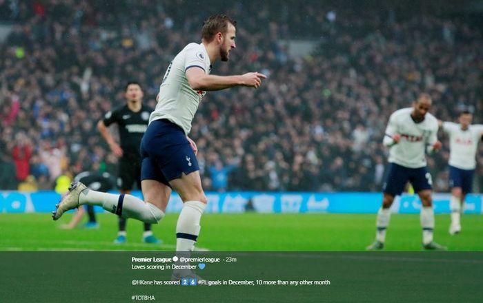 Harry Kane saat merayakan gol ke gawang Brighton dalam lanjutan Liga Inggris pekan ke-19, Kamis (26/12/2019).