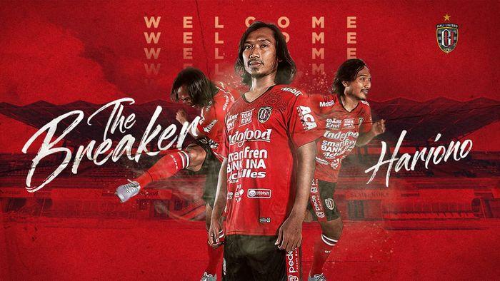 Gelandang eks Persib, Hariono, resmi bergabung dengan juara Liga 1 2019, Bali United, untuk mengarungi kompetisi musim depan.