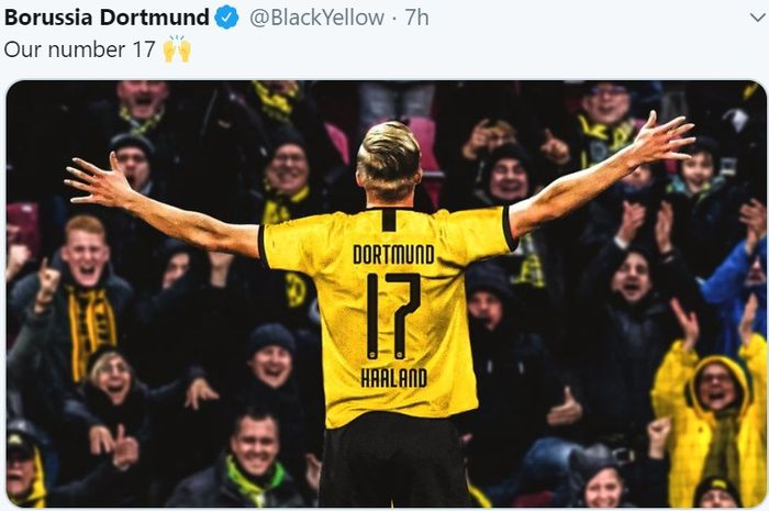 Erling Braut Haaland akan memakai kostum nomor 17 di Borussia Dortmund.