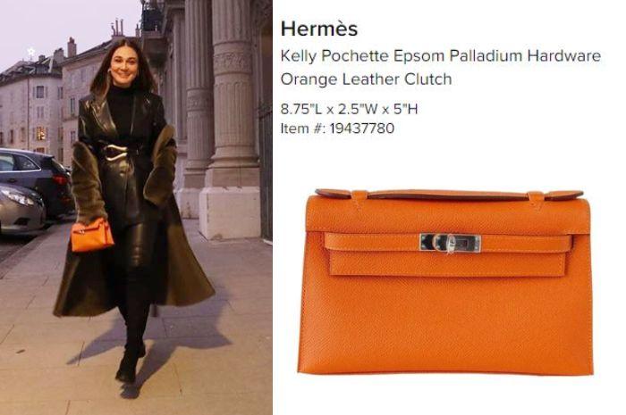 Luna Maya tenteng tas branded Hermess Kelly Pochette Epsom Palladium Hardware Orange Leather Clutch