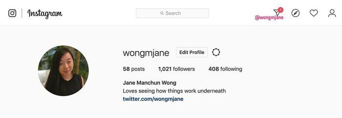 Contoh tampilan Instagram DM web versi dekstop.