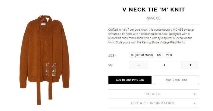 Harga V Neck Tie ' M ' Knit yang tampak dipakai Syahrini