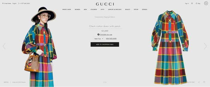Gucci seri Check cotton dress with patch