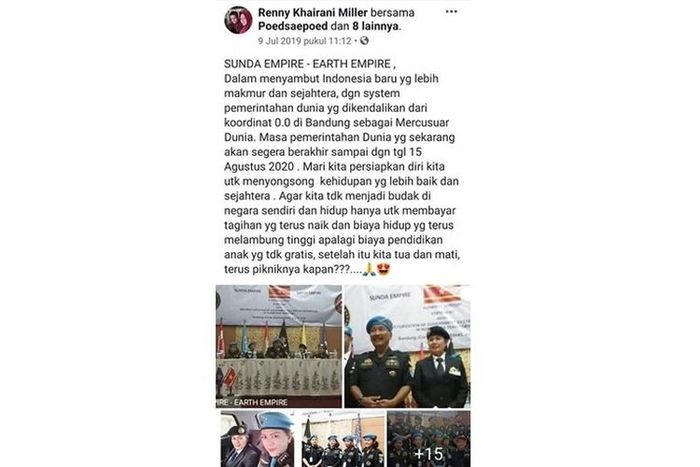 Tangkapan layar unggahan status pengguna Facebook Renny Khairani Miller tentang Sunda Empire.