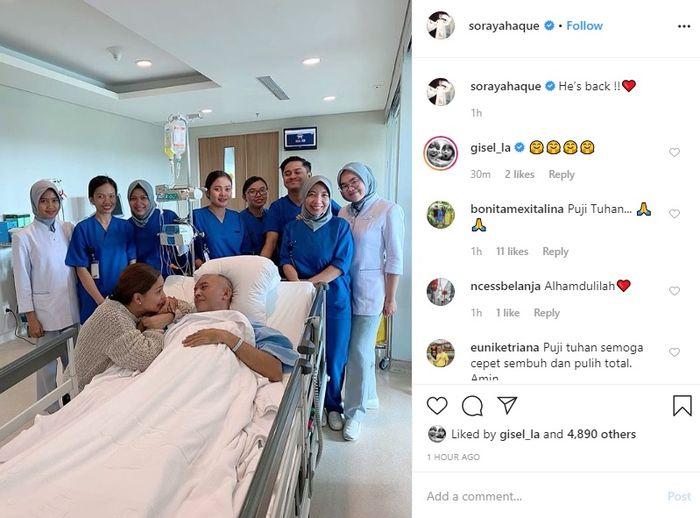 Soraya Haque mengabarkan kondisi terkini sang suami yang tengah di rawat di rumah sakit
