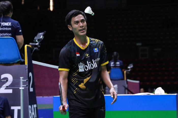 Pebulu tangkis tunggal putra Indonesia, Shesar Hiren Rhustavito, pada babak perempat final Thailand Masters 2020 di Indoor Stadium Huamark, Bangkok, Jumat (24/1/2020).