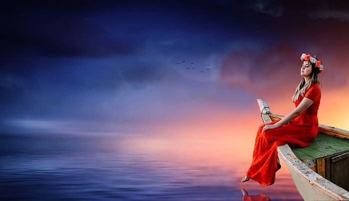 Ilustrasi naik perahu