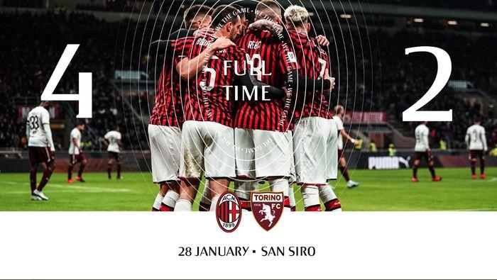AC Milan mengalahkan Torino 4-2 lewat perpanjangan waktu pada perempat final Coppa Italia, Selasa (28/1/2020) di San Siro.