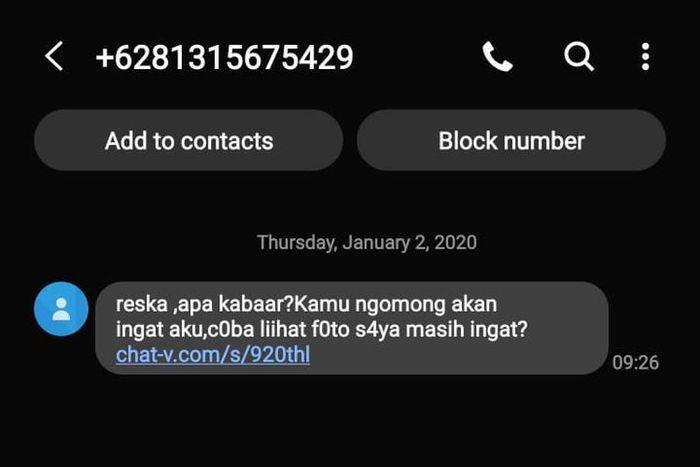 Ilustrasi serangan siber melalui kedok SMS Chat-V