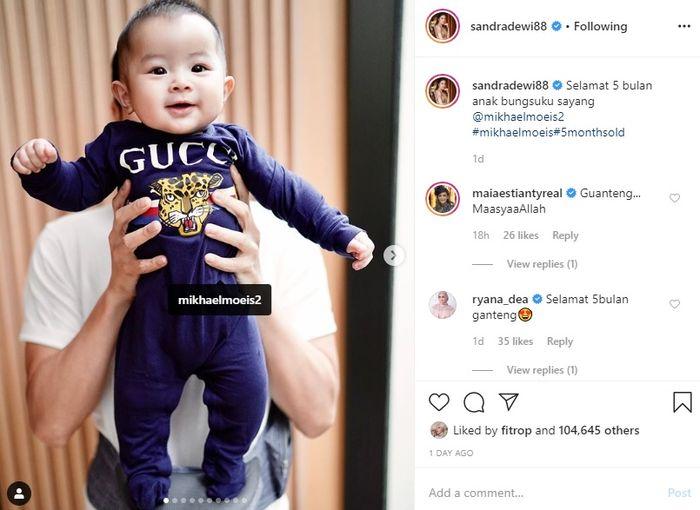 Postingan Sandra Dewi di hari ulang tahun Mikhael Moeis