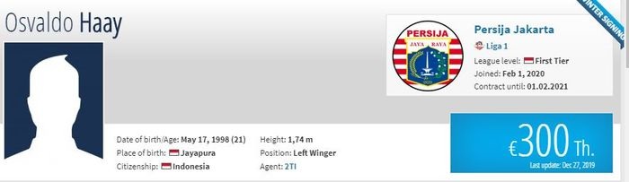 Transfermarkt Cantumkan Persija Jakarta sebagai klub baru Osvaldo Haay pada Senin (3/2/2020).