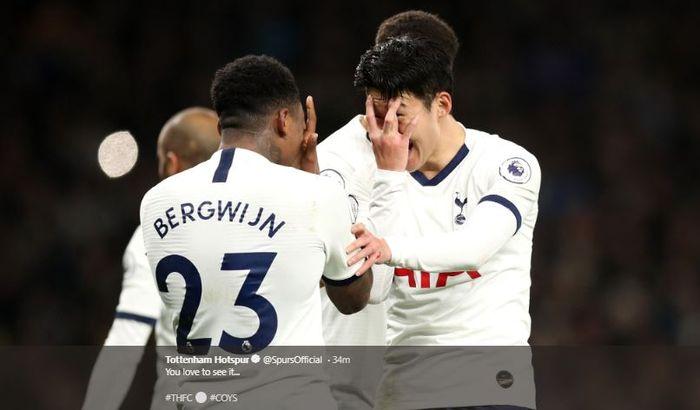 Sukacita Son Heung-min dan Steven Bergwijn setelah Tottenhm Hotspur mampu mengalahkan Manchester City pada laa pekan ke-25 Liga Inggris, Minggu (2/2/2020).