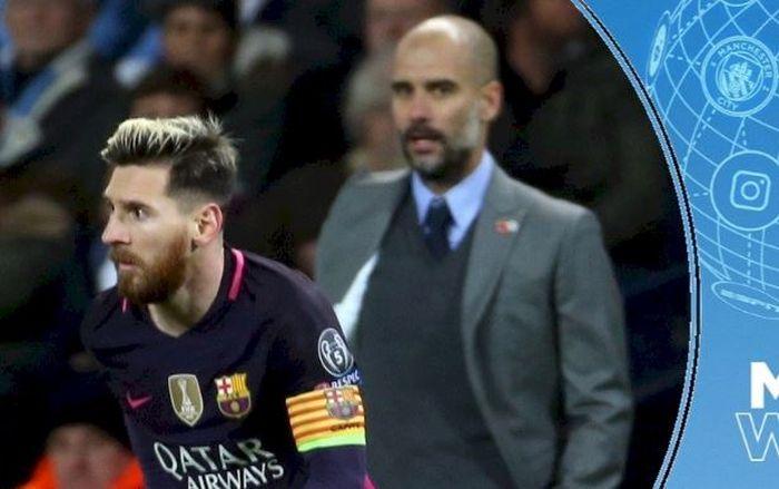 Pelatih Manchester City, Pep Guardiola, melihat ke arah megabintang Barcelona, Lionel Messi.