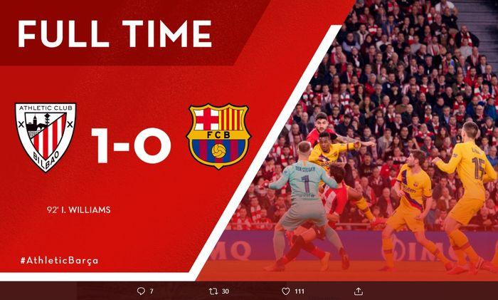 Athletic Bilbao berhasil tundukan Barcelona dengan skor tipis 1-0 setelah sundulan Inaki Williams memupus harapan mereka untuk berkompetisi di Copa Del Rey.