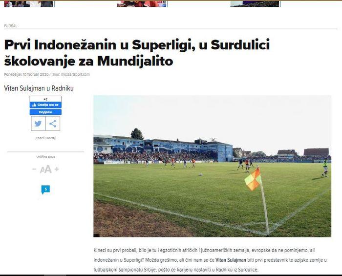 Berita Mozzart Sport soal Witan Sulaiman Gabung FK Radnik Surdulica