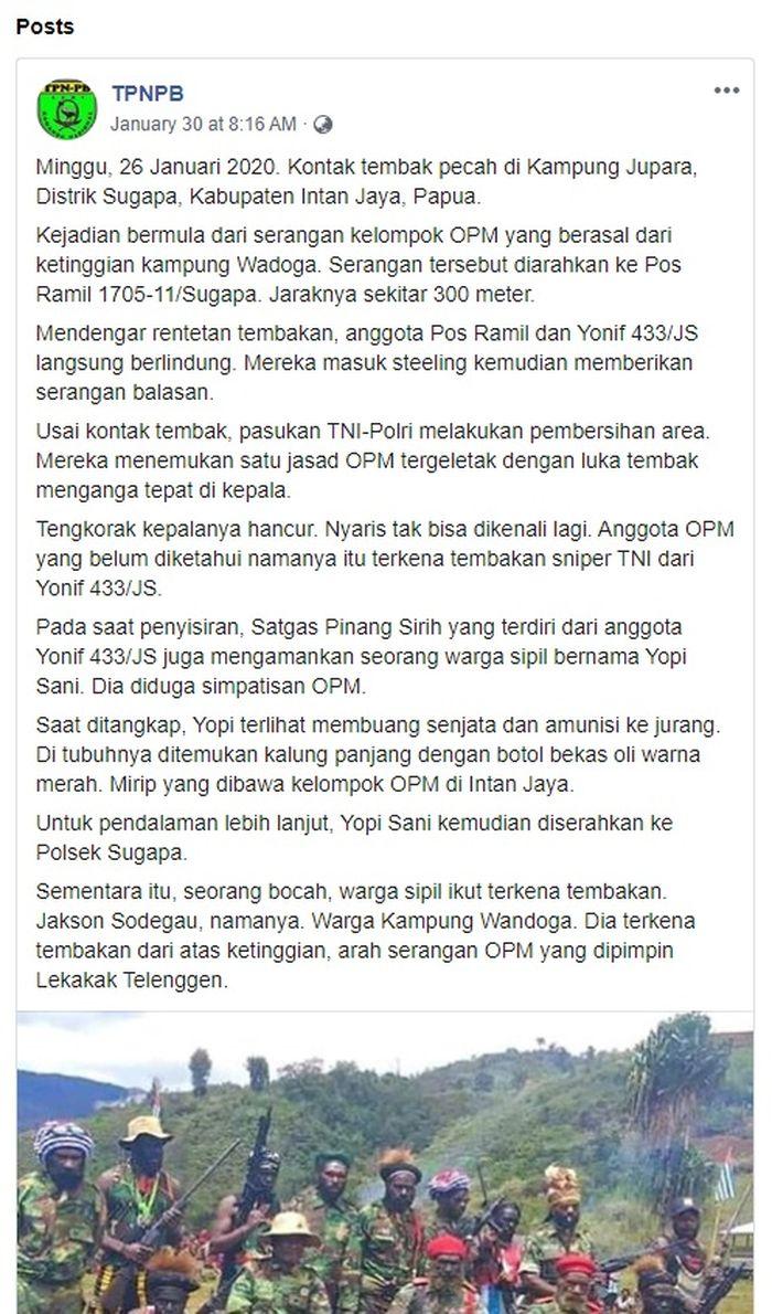 Postingan di akun FB TPNPB
