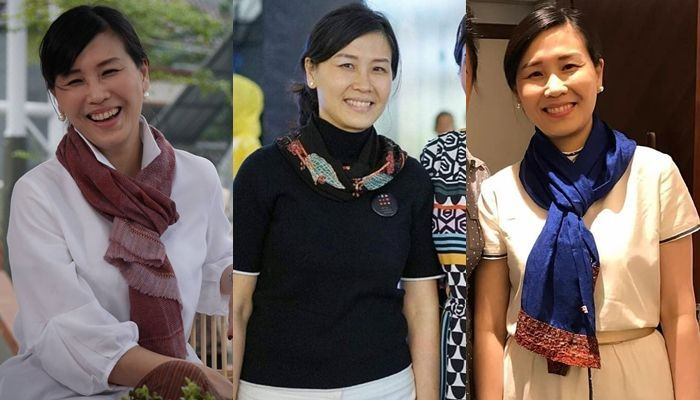 Tampilan Veronica Tan pakai scarf