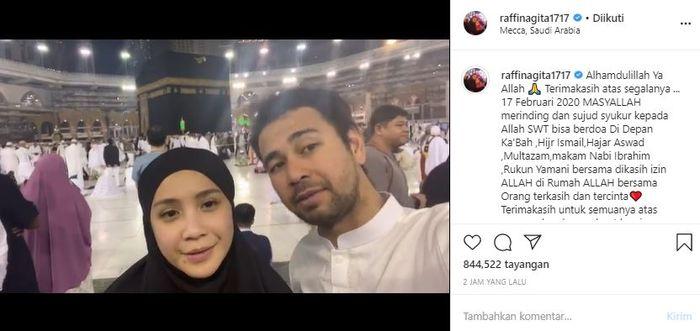 Raffi Ahmad dan Nagita Slavina rayakan ulang tahun secara bersamaan di depan Ka'bah