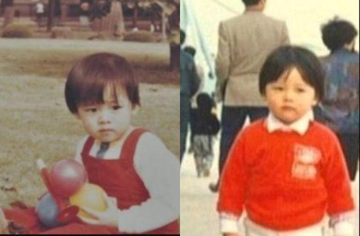 Foto masa kecil Son Ye Jin dan Hyun Bin yang mirip.