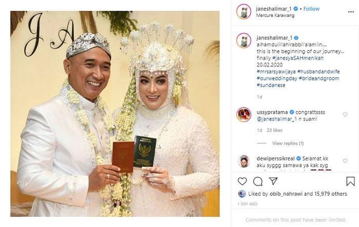 Potret pernikahan Jane Shalimar (21/2/2020) lalu