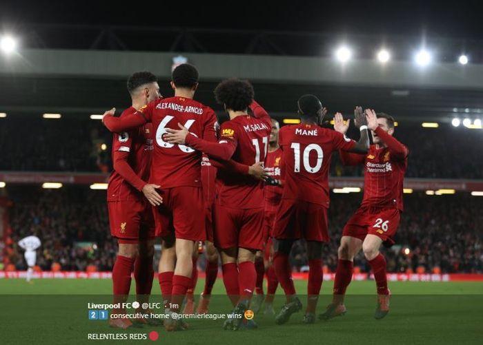 Selebrasi pemain Liverpool usai kalahkan West Ham 3-2 di Anfield pada pekan ke-27 Liga Inggris, Senin (24/2/2020) atau Selasa dini hari WIB.