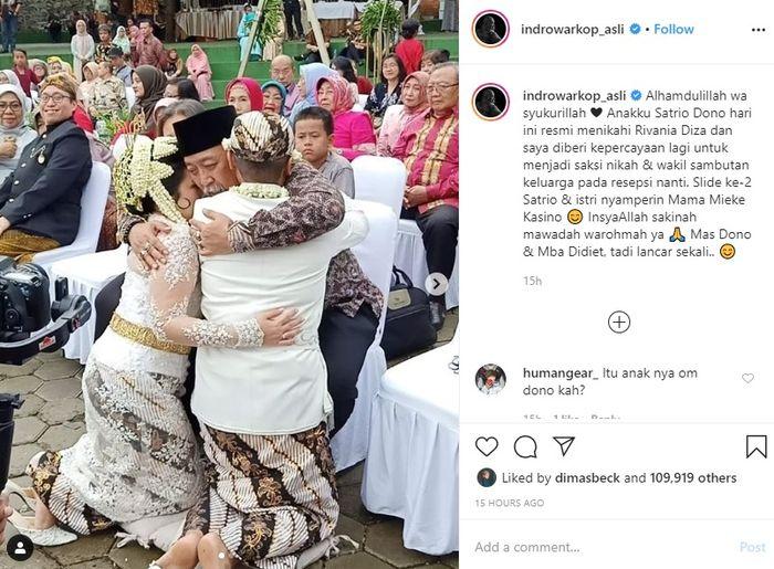 Indro hadir sebagai saksi di pernikahan putra mendiang Dono Warkop