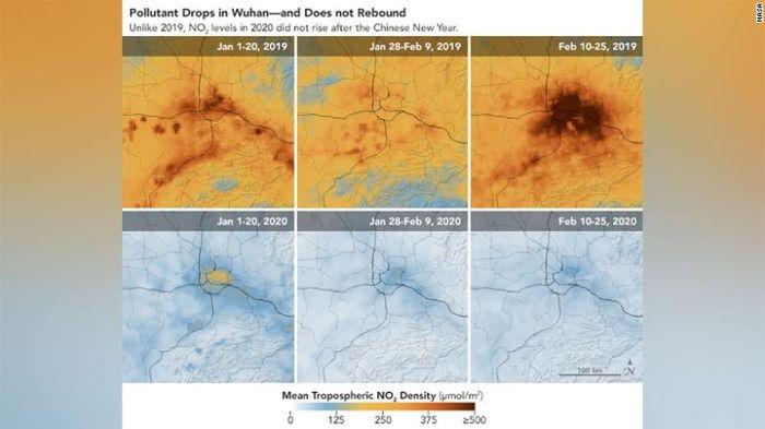 Dalam rentang waktu 1 hingga 20 Januari 2020, gambar menunjukkan tingkat nitrogen dioksida yang lebih tinggi di atas China, tetapi dari 10 hingga 25 Februari, jejak gas hampir tidak terlihat.
