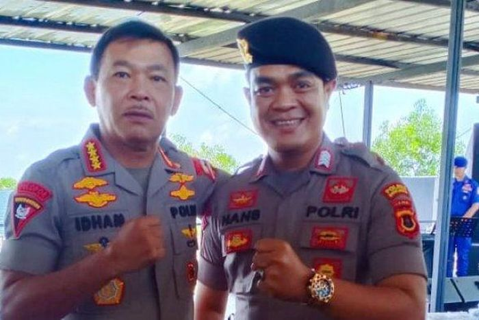 Bripka Hansmadi Simangunsong bersama Kapolri. Pada pertemuan singkat itu terjadi di acara di Pusdik PolAir Tanjung Priok, <a href='https://www.tribunnews.com/tag/jakarta' class='blue'>Jakarta</a>, pada Jumat (6/3/2020) dalam acara rapat kerja teknis Spripim Polri Seluruh Polda Se-Indonesia
