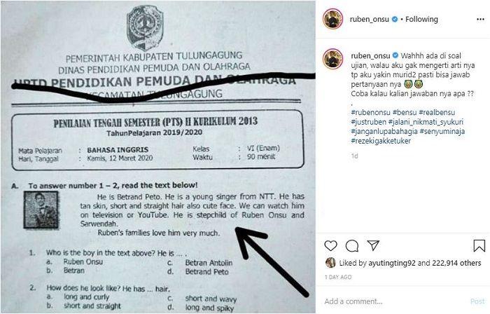 Instagram @ruben_onsu__ Postingan Ruben Onsu yang memperlihatkan nama Betrand Peto keluar di soal ujian anak SD