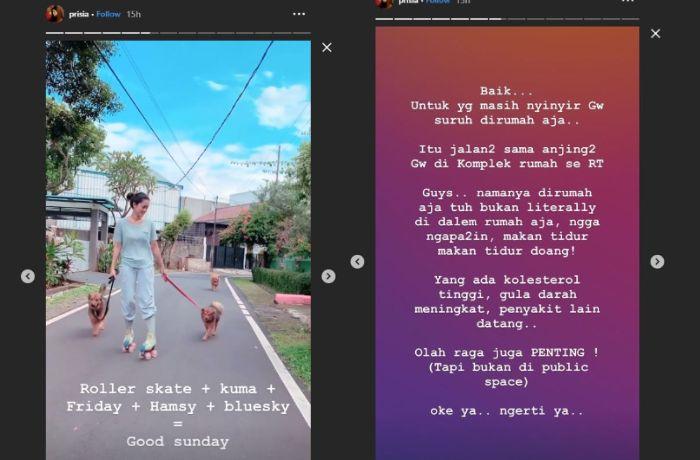 Prisia Wulansari Nasution lakukan kegiatan olahraga di luar rumah