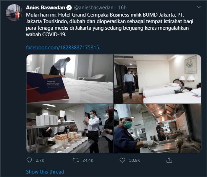 Cuitan Anies Baswedan saat menyiapkan kamar hotel untuk istirahat para tenaga medis