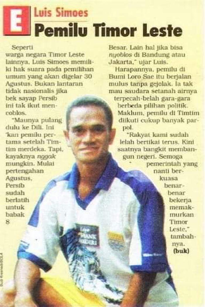 Luis Simoes pada saat dirinya terpampang di Tabloid Bola tahun 2001