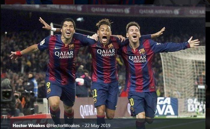 Neymar (tengah) saat membentuk trio MSN di lini depan Barcelona bersama Luis Suarez dan Lionel Messi.