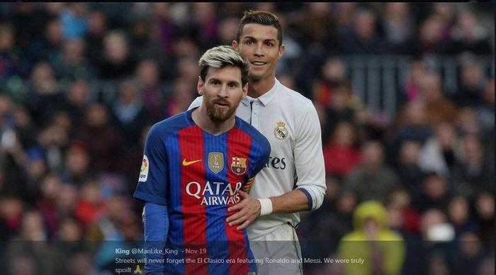 Cristiano Ronaldo dan Lionel Messi beraksi dalam pertandingan Real Madrid kontra Barcelona.