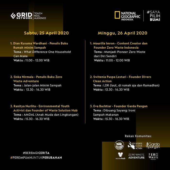 "National Geographic Indonesia dan Saya Pilih Bumi sepanjang tahun ini menggelar kampanye #PerempuanUntukPerubahan dan #BerbagiCerita. Gagasan baru ini dikemas dalam diskusi daring bertajuk ""Inspirasi Perempuan untuk Perubahan Lingkungan"" pada 25-26 April 2020."