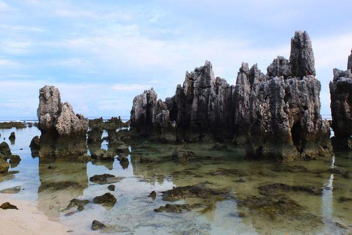 Batu karang di pantai kawasan Nauru, Pasifik Selatan