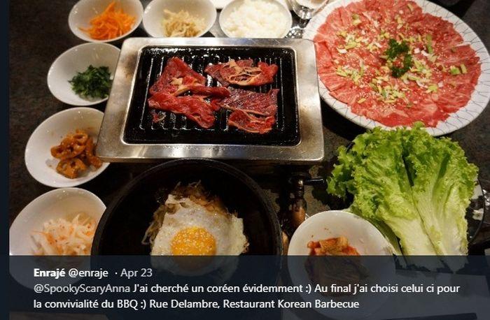 Ilustrasi daging panggang khas Korea Selatan.