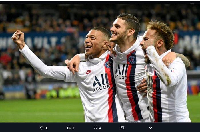 Kiri ke kanan: Trio penyerang PSG, Kylian Mbappe, Mauro Icardi, dan Neymar.