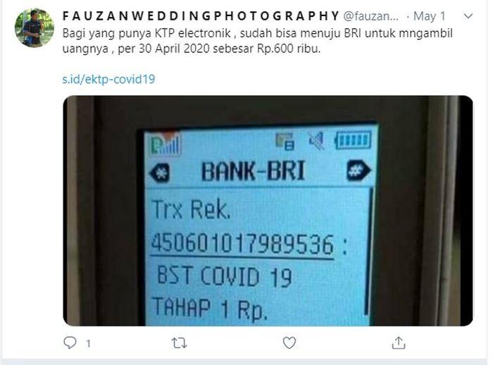 Warganet Facebook hingga Twitter, sedang heboh membahas dana bantuan yang dikirimkan ke rekening BRI.