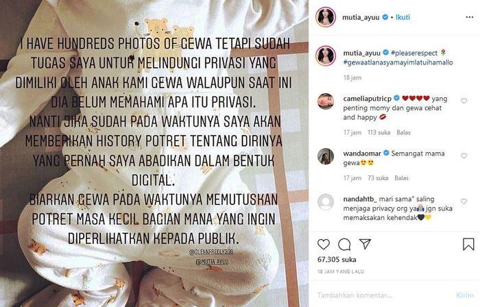 Mutia Ayu beri penjelasan tak memasang wajah sang anak di media sosial