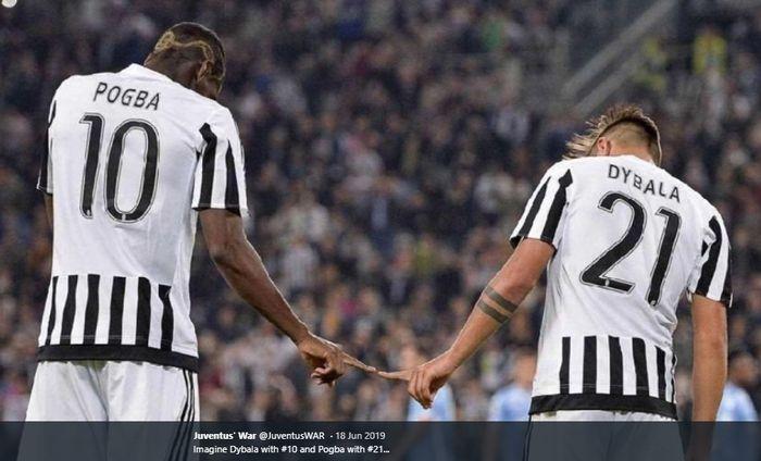 Momen kebersamaan Paul Pogba bersama Paulo Dybala kala sama-sama membela Juventus pada musim 2015-2016.