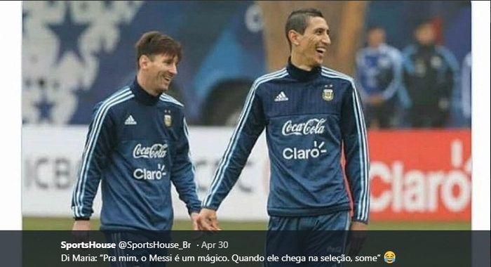 Angel Di Maria dan Lionel Messi di timnas Argentina.