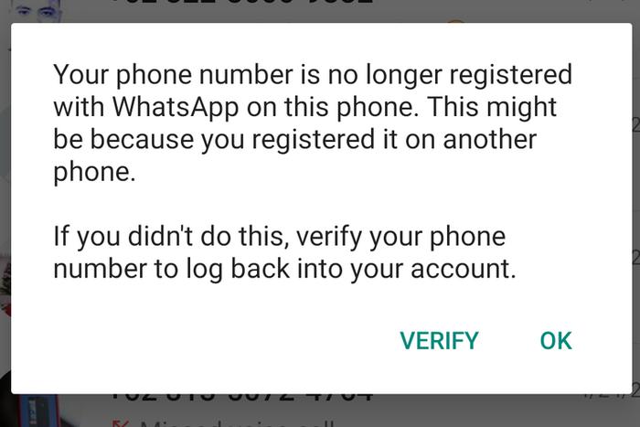 Notifikasi Whatsapp bahwa akun masuk di perangkat lain