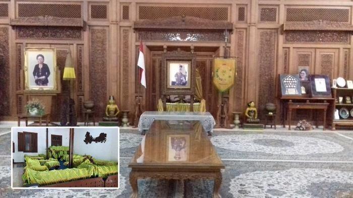 Seperangkat gamelan terpasang di ruang depan rumah Presiden Soeharto di Ndalem Kalitan, Solo, Jawa Tengah