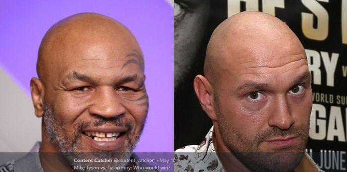 TWITTER.COM/CONTENT_CATHCER__ Kolase dua petinju kelas berat, Mike Tyson (kiri) dan Tyson Fury (kanan).