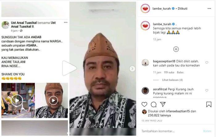 unggahan Lambe Turah terkait tanggapan pemilik marga Latuconsina atas candaan Andre Taulany dan Rina Nose.