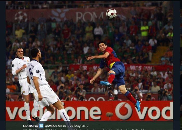 Lionel Messi mencetak gol dalam laga final Liga Champions 2008-2009 yang mempertemukan Barcelona versus Manchester United.