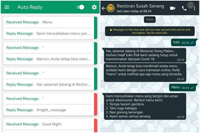 Tampilan daftar balasan otomatis di aplikasi Auto Reply (kiri) dan ilustrasi balasan di aplikasi Whatsapp (kanan)